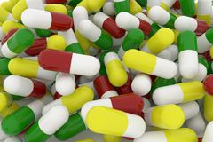 Bunch of capsules. Health conceptual with bunch of close up capsules, medicine or pills, 3D rendering image Stock Photo