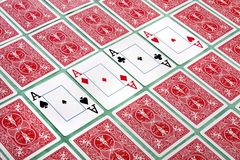 Bunch of cards flipped Royalty Free Stock Image