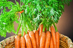 Bunch carrots  in wooden basket Stock Photo
