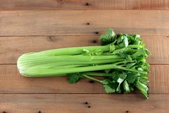 Bunch of Celery. On Wooden Background royalty free stock photography