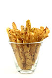 Bunch of cheese pretzels in a glass bowl Stock Photography