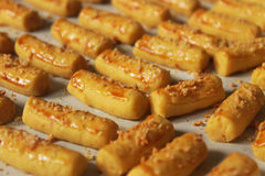 Bunch of Cheese Stick Cookies. Bunch of delicious cheese stick cookies in closeup capture Stock Image