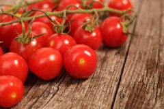 Bunch of cherry tomatoes on the vine Stock Images
