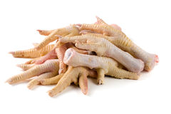 Bunch of chicken feet isolated on white background.  Royalty Free Stock Photos