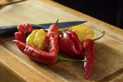 Bunch of chilies on a cutting board. Bhut, habanero, red, yellow chilies Stock Photography