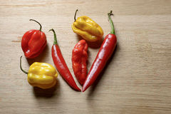 Bunch of chillies on a cutting board. Bunch of chilies on a  a wooden cutting board. Seen from above Stock Image