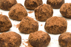 Bunch of chocolate truffles with cocoa powder Royalty Free Stock Photography
