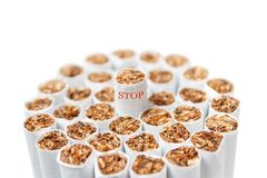 Bunch of cigarettes isolated Stock Images
