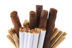 Bunch of cigarettes tobacco stock photos