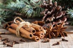 Bunch of cinnamon sticks, anise stars Royalty Free Stock Image