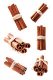 Bunch of cinnamon sticks as a collage. On white background isolated Stock Image