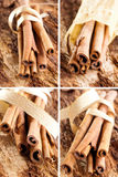 Bunch of cinnamon sticks as a collage. With a golden bow on a wooden background Stock Photography