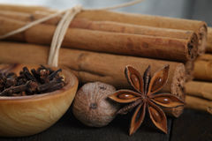 Bunch of cinnamon sticks with nutmeg, anise and cloves Royalty Free Stock Images