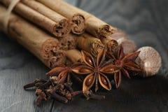 Bunch of cinnamon sticks with nutmeg, anise and cloves Stock Photos