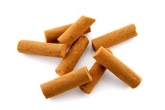 Bunch of cinnamon sticks. Over white background royalty free stock photos