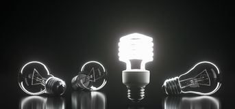 Bunch Classic Glass Light Bulbs With One Of Them Lighted. 3D Rendering Of Bunch Classic Glass Light Bulbs With One Of Them Lighted On Dark Background With Royalty Free Stock Photos