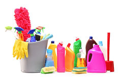 Bunch of cleaning products on white background Royalty Free Stock Image