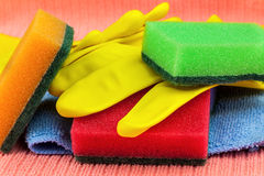 Bunch of cleaning tools Royalty Free Stock Photos