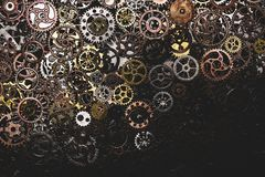 Bunch of cogwheels laying down. Spare parts. Engineering Royalty Free Stock Photos