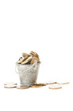 Bunch of coins in a small bucket Stock Image