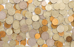 Bunch of coins on white Stock Photo
