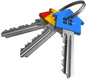 Bunch of color house-shape keys. Isolated over white background Royalty Free Stock Photos