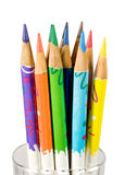 Bunch of color pencils in a glass Stock Images