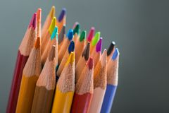 Bunch of color pencils in a stand Stock Image