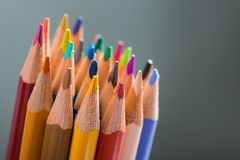 Bunch of color pencils in a stand Stock Photo