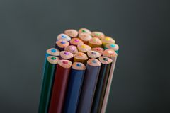 Bunch of color pencils in a stand Stock Images