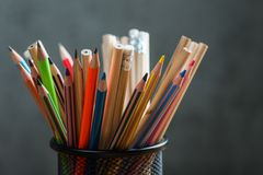 Bunch of color pencils in a stand Royalty Free Stock Images
