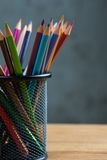 Bunch of color pencils in a stand Royalty Free Stock Photo