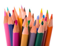 Bunch of color pencils on white Royalty Free Stock Images