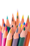 Bunch of color pencils on white Stock Photos