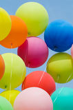 Bunch of colored balloons. Colored balloons on blue sky Stock Images