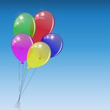 Bunch of colored balloons on sky background. Vector illustration Royalty Free Stock Images