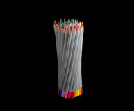 Bunch of colored pencils on a dark background Royalty Free Stock Images