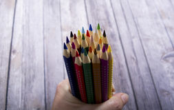 Bunch of colored pencils Stock Photos