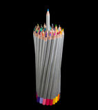 Bunch of colored pencils with one pencil partly pull out Royalty Free Stock Photo