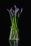 Bunch of colorful asparagus on black background, Gourmet concept Royalty Free Stock Image