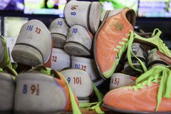 A bunch of bowling shoes stock photography