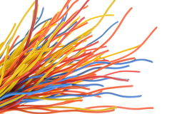 Bunch of colorful cables. Isolated on white background Royalty Free Stock Photo