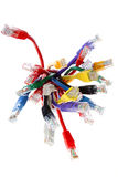 Bunch of colorful cables. Over white background Royalty Free Stock Photos
