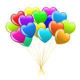 Bunch of colorful  cartoon heart balloons Stock Photo
