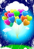 Bunch of colorful  cartoon heart balloons Stock Photography