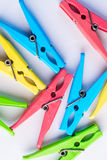A bunch of colorful clothespins Royalty Free Stock Image