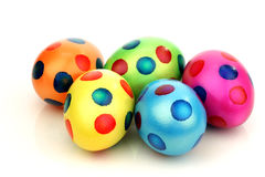 Bunch of colorful easter eggs with painted spots Stock Photos