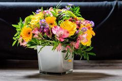 Flowers bouquet. A bunch of colorful flowers; floral art Royalty Free Stock Photography