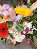 bunch of colorful flowers for Mother& x27;s Day!  Lilium and Gerbere flowers for the beautiful spring stock photos