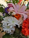 bunch of colorful flowers for Mother& x27;s Day!  Lilium and Gerbere flowers for the beautiful spring stock photo